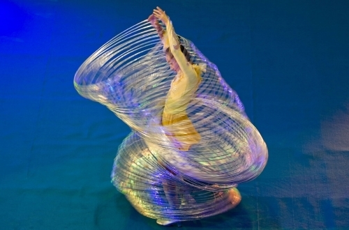 In October 2007, Chinese Lingling Jin broke the record twirling 105 hoops at the same time