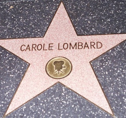The star of American film actress Carole Lombard on the Hollywood Walk of Fame