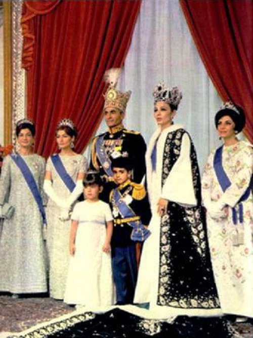 Coronation of the Shah of Iran in 1967, official photograph. Princess Ashraf, Princess Shahnaz, the Shah, Princess Farahnaz and Crown Prince Reza, Queen Farah and Princess Shams