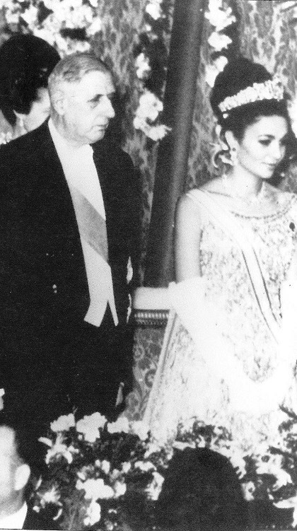 Charles de Gaulle and Farah Pahlavi during her visit to France, 1961