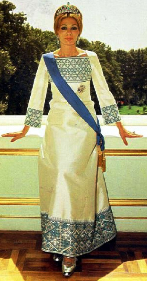 Farah Pahlavi, empress of Iran with a ribbon and the Order of the Sun