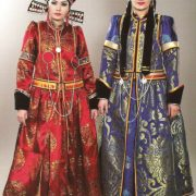 Red and blue folk costumes of Buryat women