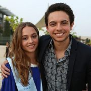 Jordanian Crown Prince Hussein wishes his sister Princess Iman well during her graduation from high school
