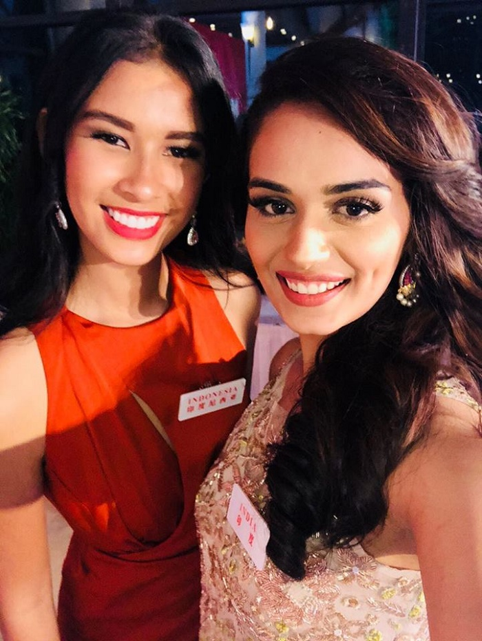 Right - Manushi, with her gorgeous roommate Miss World - Indonesia Achintya Nilsen