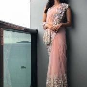 Wearing a Manish Malhotra saree for her personal interview at the Miss World pageant