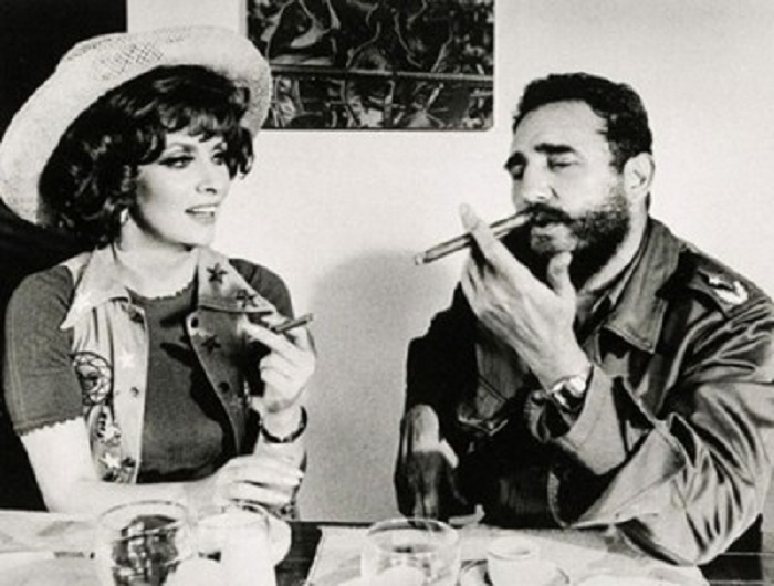 Fidel Castro and Gina Lollobrigida