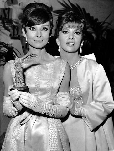Audrey Hepburn and Gina Lollobrigida