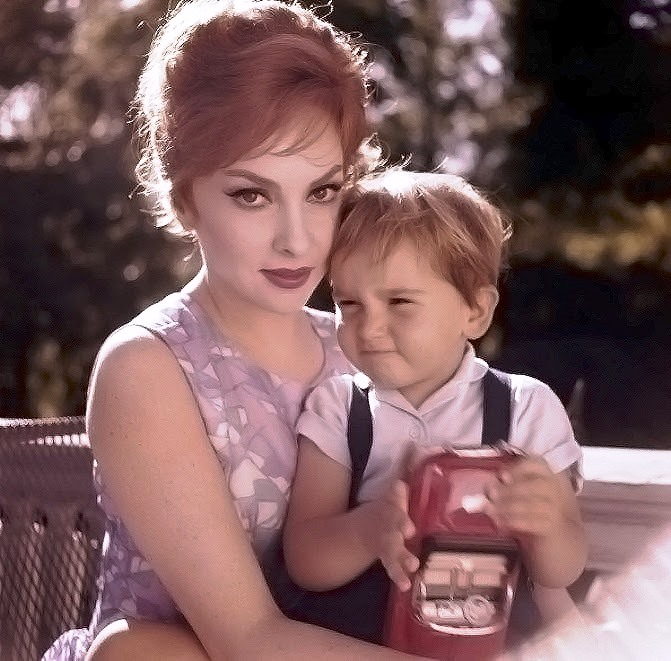 With her son