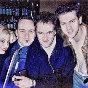 Young Mira Sorvino, Kevin Spacey, Quentin Tarantino and David Hayter at the Albino Alligator premiere. Beverly Hills 1996
