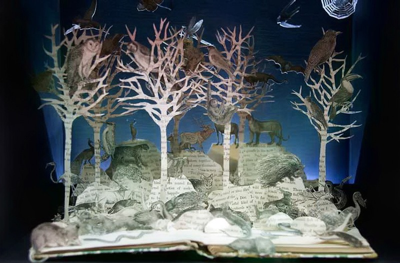Winter landscape. Paper art by British artist Su Blackwell