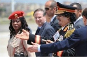 """Traditionally, 15 """"Amazons"""" accompanied Gaddafi during his visits through the country and abroad"""