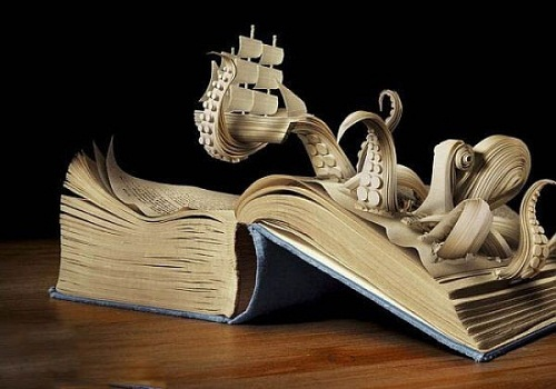 Using a knife, pages of a book and incredible talent, someone is able to create these stunning sculptures.