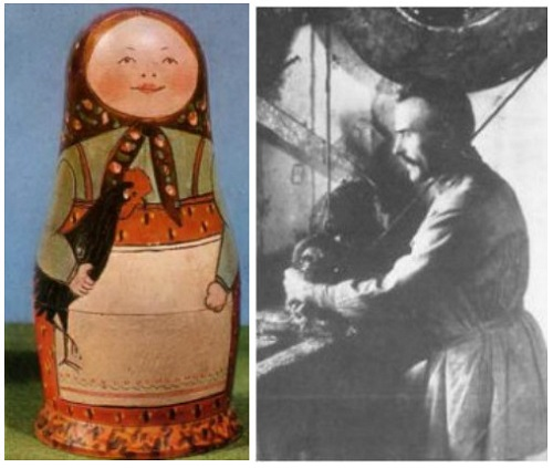 First Russian Matryoshka doll 'girl with cockerel' (left), Vasily Zvezdochkin, master (right)