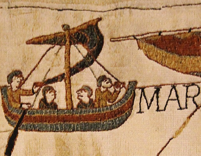 Four men in a boat, Bayeux Tapestry