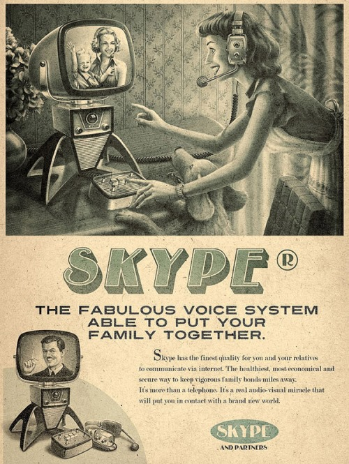 Skype, Vintage futurism of retro inspired ads