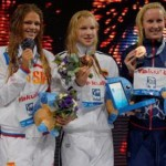 Three winners - Yulia Yefimova, Ruta Meilutyte and Jessica Hardy