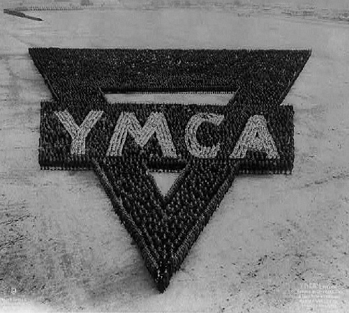 Emblem of the YMCA. Group photography by American commercial photographer Arthur Samuel Mole