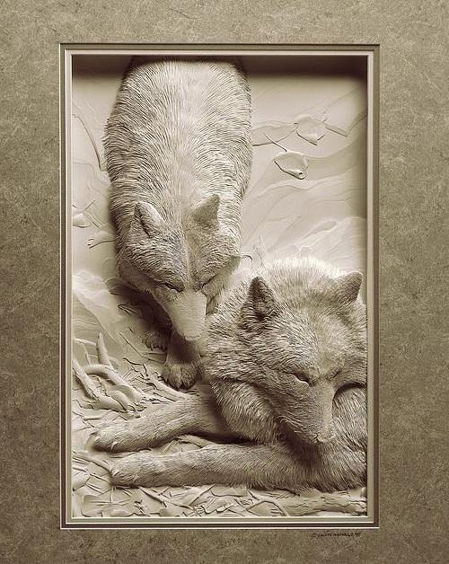 Paper art works by Canadian artist Calvin Nicholls