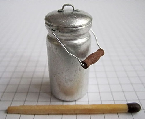 Milk churn. Miniature created by Russian craftsman Dmitry Okhotsky