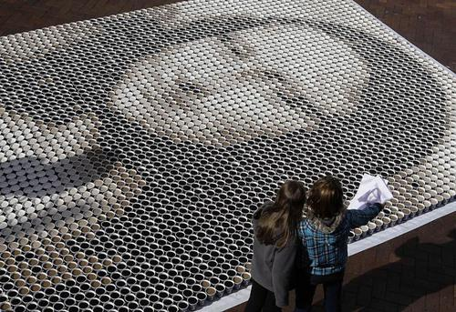 Painting Made with 3604 Cups of Coffee