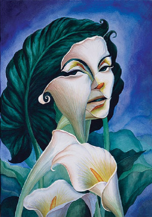 Flowers of callas and woman's portrait. Illusion painting by Mexican artist Octavio Ocampo
