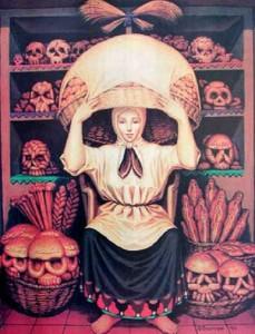 Skull and peasant woman