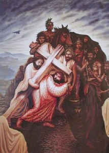 Jesus Christ and suffering in a fabulous Illusion painting by Mexican artist Octavio Ocampo
