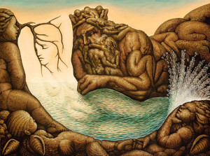 Religious and mythological theme. Absolutely stunning illusion painting by Mexican artist Octavio Ocampo