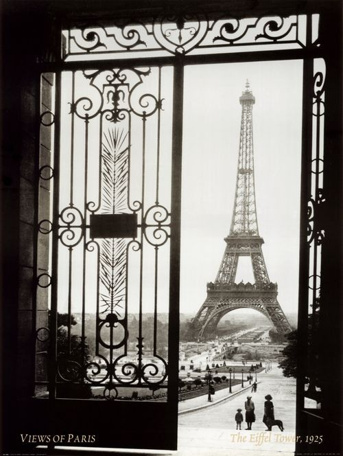La Tour Eiffel, an iron lattice tower located on the Champ de Mars in Paris