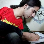 Art lover Ahmed doing sketches