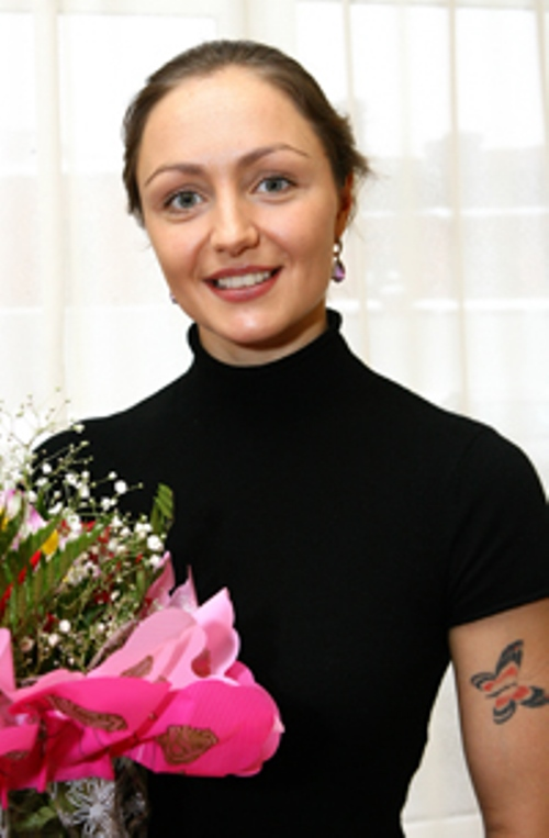 With bouquet of flowers, Anastasia Davydova