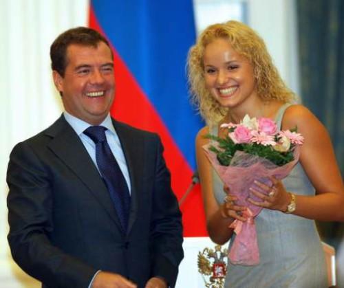President Dmitry Medvedev and Anastasiya Yermakova