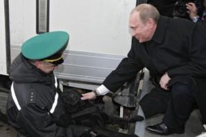 Black Labrador saying good-bye to his owner