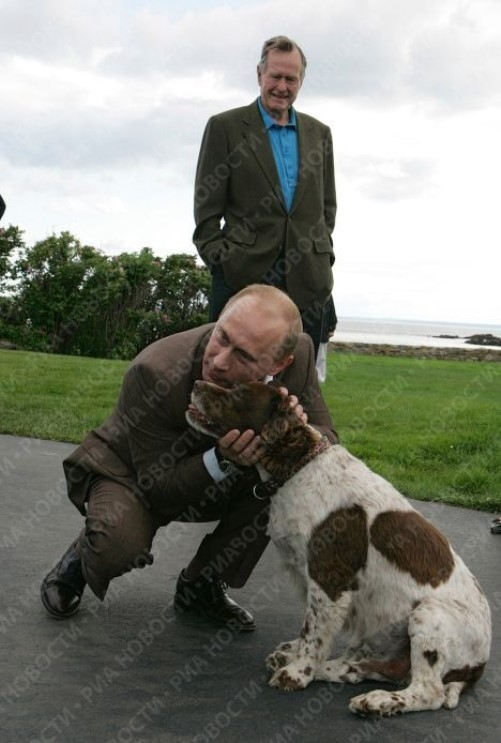 Visiting George Bush and his dog, Vladimir Putin