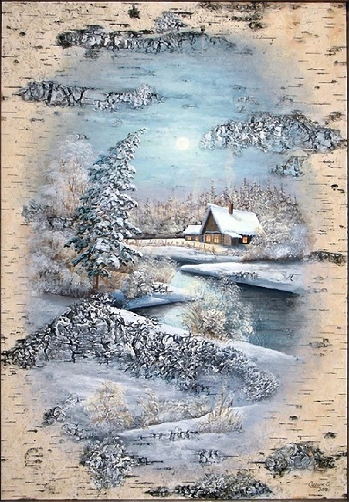 Moonlight. Birch bark painting by Russian artist of applied art Vladimir Makhnyuk