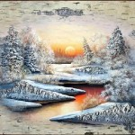 Moonlight. Birch bark painting by Russian artist of applied art Vladimir Makhnyuk