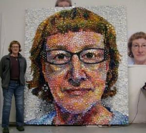 Bottle caps mosaic portrait by Mary Ellen Croteau