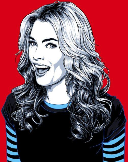 Elizabeth Banks, actress and film director. Celebrity portraits by American vector artist Mel Marcelo