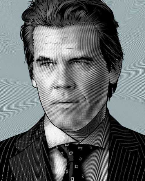 Josh Brolin, Hollywood actor. Celebrity portraits by American vector artist Mel Marcelo
