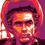 Cowboy James Dean, cultural icon of 1950s. Celebrity portraits by American vector artist Mel Marcelo