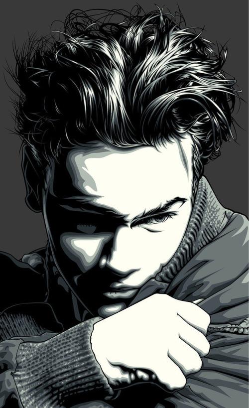 James Dean. Celebrity portraits by American vector artist Mel Marcelo