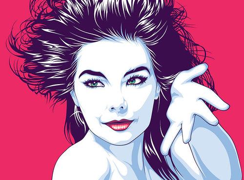 Icelandic singer Björk. Celebrity portraits by American vector artist Mel Marcelo