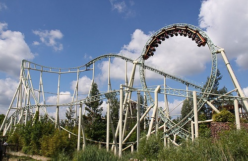 Thorpe Park in Surrey, England, UK – Colossus. Height 98 ft (30 m), Drop 95 ft (29 m), Length 2,789 ft (850 m), Max speed 45 mph (72 km/h), Inversions 10, Duration 1:45