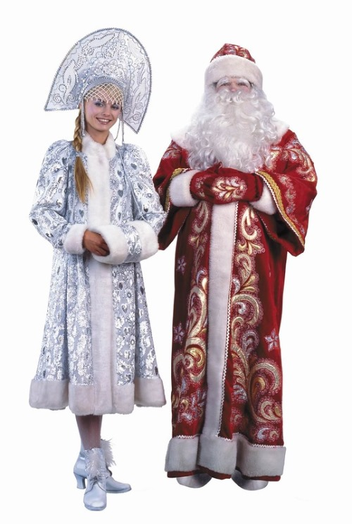 Aged Ded Moroz and beautiful young girl Snegurochka