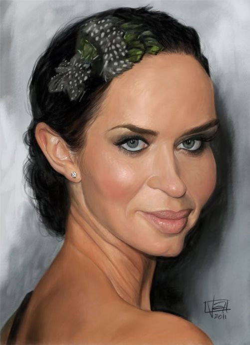 Emily Blunt. Caricature by Italian Concept artist Lamolinara Vincenzo