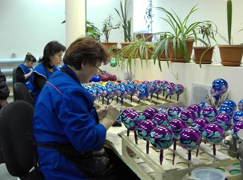 Factory of Christmas toys in Klin, Russia