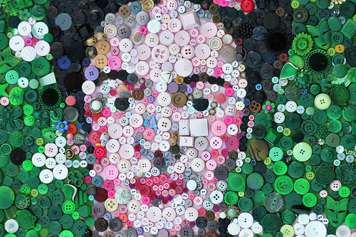November 16 Happy Button Day. Frida Kahlo Artwork of buttons
