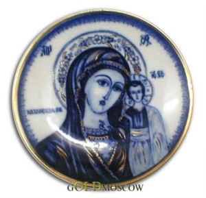 Icon of Mother God with a child. Traditional Russian ceramics - Gzhel