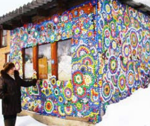 House decorated with bottle caps, made by Anna Syrvatsova, Irkutsk, Russia