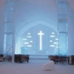 A church inside the Ice Hotel in the village Jukkasjarvi, Sweden
